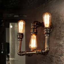 Edison Wall Sconce Industrial Bare Edison Bulb Wall Sconce In Bronze Finish 3 Lights
