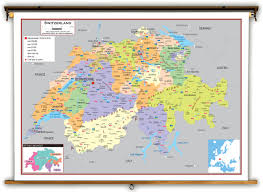 Switzerland Map Europe by Switzerland Political Educational Wall Map From Academia Maps