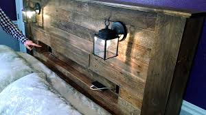 pallet wood headboard with coach lights and recessed shelf youtube