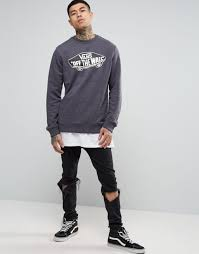 vans off the wall sweatshirt in black v002mnkot men vans customs