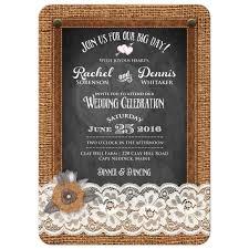 photo wedding invitation burlap chalkboard leather u0026 lace