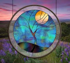 stained glass window tree yellow moon leaded glass panel