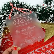 engraved acrylic christmas santa certificate personalised favours
