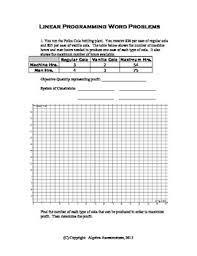 of inequalities linear programming worksheet real world problems