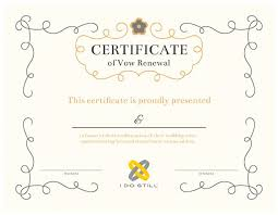 free printable ornate certificate of vow renewal i do still