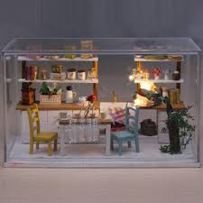 Dollhouse Dining Room Furniture by Hoomeda Diy Wooden Dollhouse Miniature Dining Room Model Kit With