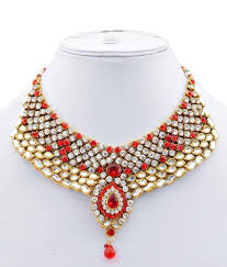 red fashion necklace images Lucky jewellery red alloy kundan bridal necklace set buy lucky jpg