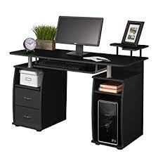 desktop computer desk amazon com fineboard home office computer desk with raised side