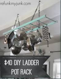 kitchen pot rack ideas 40 00 ladder diy pot rack refunk my junk