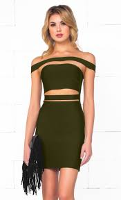 indie xo it olive green strapless cut out bandage bodycon