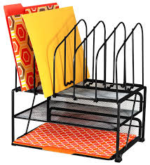 Black Wire Mesh Desk Accessories by Decobros Mesh Desk Organizer With Double Tray And 5 Upright