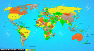 World Map With Capitals by Political World Map On Ocean Blue Background With Every State