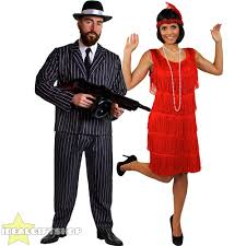 Gatsby Halloween Costumes Gangster Flapper Couples Costume 1920 U0027s Fancy Dress