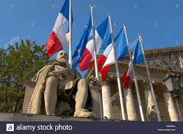 Paris Flag Paris France French Flag And National Assembly Building With