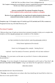 download provisional patent application template word document