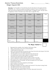 Magic Square Worksheet 12 Best Images Of Chemistry Atomic Structure Worksheet Atomic