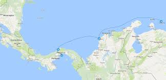 Map Curacao Panama Canal Cruise Clipper Stad Amsterdam