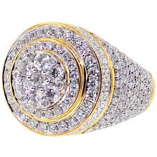 rings mens diamond images Mens diamond cluster round pinky ring 10k yellow gold 4 73 ct jpg