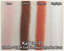 kat von d shade light eye contour quad kat von d shade light quad in rust review swatches look