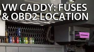where are fuses and obd2 diagnostic port in volkswagen caddy