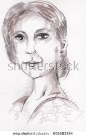 watercolor woman portrait beauty fashion stock illustration