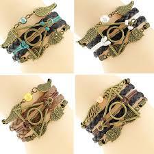 vintage infinity bracelet images Multilayer braided bracelets vintage owl wings infinity bracelet jpg