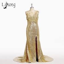 Online Shop Sequined Gold Mermaid Prom Dresses Long Black