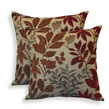 nature inspired burgundy throw pillow burlap background brown and