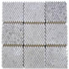 Marble Mosaic Tile Calacatta Gold 1x1 7 8 Rhomboid Diamond Mosaic Tile Polished