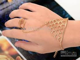bracelet with ring gold images Women gold chain link ring bracelet bangle with attached ring jpg