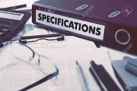 bureau concept dossier de bureau avec inscription spécifications sur pc de bureau