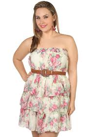 deb shops plus size floral printed belted tiered casual dress