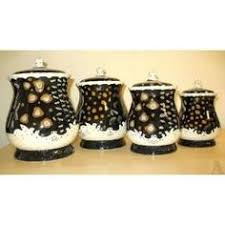 black kitchen canister sets tea coffee sugar jars lace ceramic home kitchen office storage