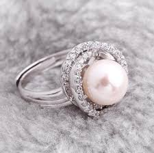 best pearl rings images Hot sale 11 12mm natural pearl rings oval s925 silver inlay zircon jpg