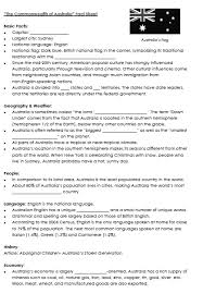 culture of english speaking countries fact sheet australia