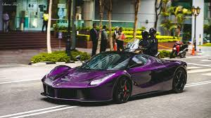 laferrari gold stunning dark purple laferrari aperta cruising the streets 1440 x