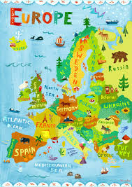 europe map illustration digital print poster kids by chengel