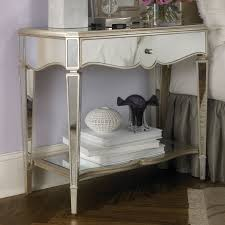 Mirrored Nightstand Bedroom Furniture Modern Mirrored Accent Side Bedside Table