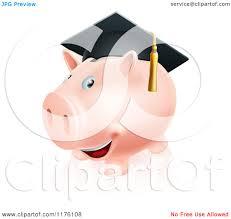 graduation piggy bank of a happy piggy bank wearing a graduation cap royalty
