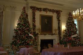 christmas trees in the state dining room at the white house