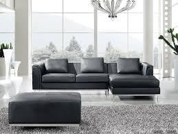 Black Sofa Sectional Sectional Sofa With Ottoman L Black Leather Oslo Beliani