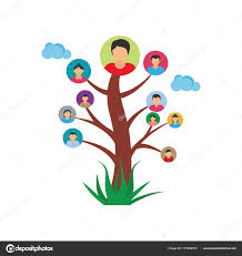 vector illustration family member pictures tree representing family