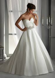 morilee bridal duchess satin wedding dress with elaborately beaded