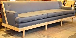 mid century modern grey sofa bleached wood bleach wood grey