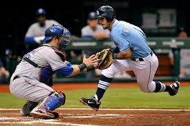 rays u0027 rodriguez runs to collide with rangers catcher napoli at