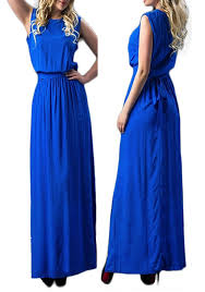 sapphire blue pleated tie back sashes slit plus size casual maxi