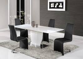elegant white gloss and chrome dining table with tufted leather