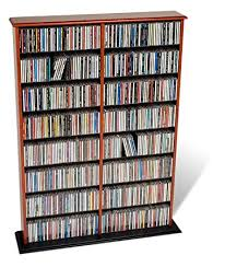 Wooden Cd Storage Rack Plans by Amazon Com Prepac Cherry Double Width Wall Media Dvd Cd Games