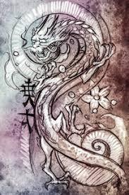 sketch of tattoo art modern dragon on vintage paper handmade