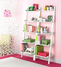leaning bookcase java linea ladder shelf the container store